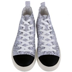 Damask1 White Marble & Silver Paint (r) Men s Mid Top Canvas Sneakers