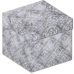 Damask1 White Marble & Silver Paint Storage Stool 12   by trendistuff