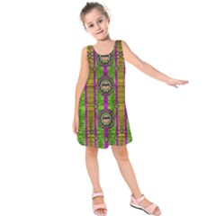 Sunset Love In The Rainbow Decorative Kids  Sleeveless Dress by pepitasart