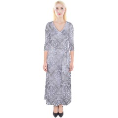 Damask1 White Marble & Silver Paint Quarter Sleeve Wrap Maxi Dress