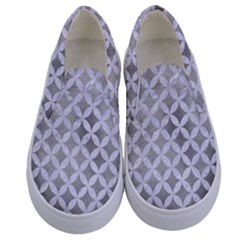 Circles3 White Marble & Silver Paint Kids  Canvas Slip Ons