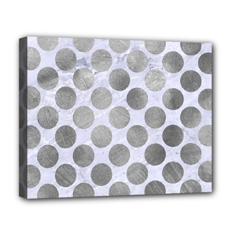 Circles2 White Marble & Silver Paint (r) Deluxe Canvas 20  X 16   by trendistuff
