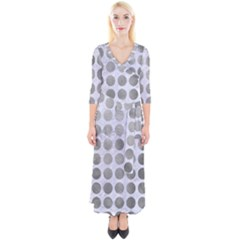 Circles1 White Marble & Silver Paint (r) Quarter Sleeve Wrap Maxi Dress