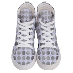 Circles1 White Marble & Silver Paint (r) Women s Hi Top Skate Sneakers