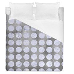 Circles1 White Marble & Silver Paint Duvet Cover (queen Size) by trendistuff