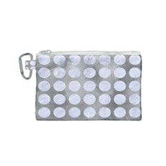 Circles1 White Marble & Silver Paint Canvas Cosmetic Bag (small) by trendistuff