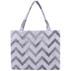 Chevron9 White Marble & Silver Paint (r) Mini Tote Bag by trendistuff
