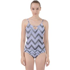 Chevron9 White Marble & Silver Paint (r) Cut Out Top Tankini Set