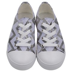Chevron9 White Marble & Silver Paint (r) Kids  Low Top Canvas Sneakers