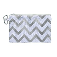 Chevron9 White Marble & Silver Paint (r) Canvas Cosmetic Bag (large) by trendistuff