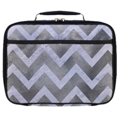 Chevron9 White Marble & Silver Paint Full Print Lunch Bag by trendistuff