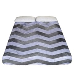 Chevron3 White Marble & Silver Paint Fitted Sheet (california King Size) by trendistuff