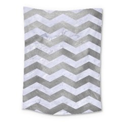 Chevron3 White Marble & Silver Paint Medium Tapestry by trendistuff