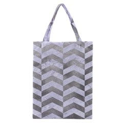 Chevron2 White Marble & Silver Paint Classic Tote Bag by trendistuff
