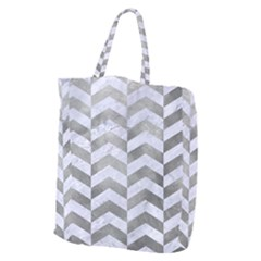 Chevron2 White Marble & Silver Paint Giant Grocery Zipper Tote