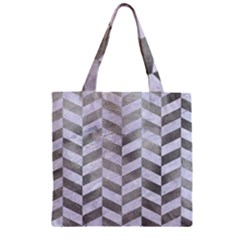 Chevron1 White Marble & Silver Paint Zipper Grocery Tote Bag by trendistuff