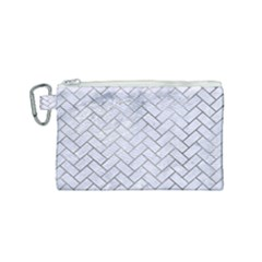 Brick2 White Marble & Silver Paint (r) Canvas Cosmetic Bag (small) by trendistuff