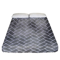Brick2 White Marble & Silver Paint Fitted Sheet (california King Size) by trendistuff
