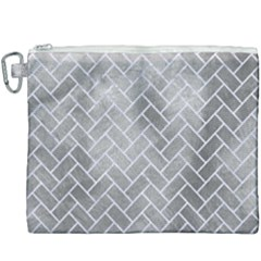 Brick2 White Marble & Silver Paint Canvas Cosmetic Bag (xxxl) by trendistuff