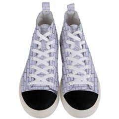 Brick1 White Marble & Silver Paint (r) Men s Mid Top Canvas Sneakers
