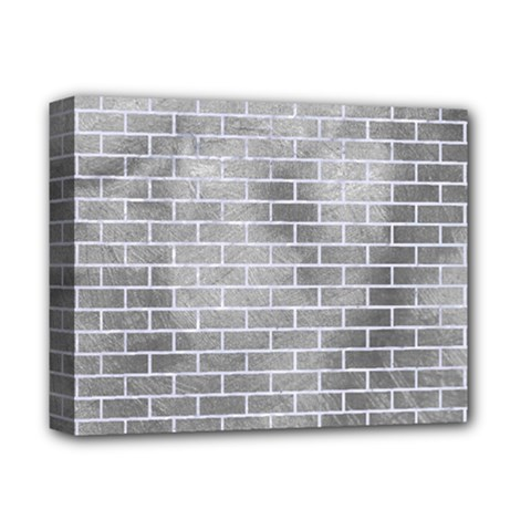 Brick1 White Marble & Silver Paint Deluxe Canvas 14  X 11  by trendistuff