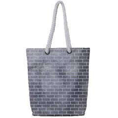 Brick1 White Marble & Silver Paint Full Print Rope Handle Tote (small)