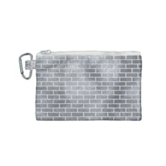 Brick1 White Marble & Silver Paint Canvas Cosmetic Bag (small) by trendistuff