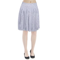 Woven2 White Marble & Silver Glitter (r) Pleated Skirt