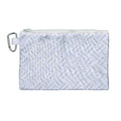 Woven2 White Marble & Silver Glitter (r) Canvas Cosmetic Bag (large) by trendistuff