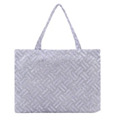 Woven2 White Marble & Silver Glitter Zipper Medium Tote Bag by trendistuff