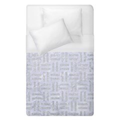 Woven1 White Marble & Silver Glitter (r) Duvet Cover (single Size) by trendistuff