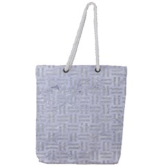 Woven1 White Marble & Silver Glitter (r) Full Print Rope Handle Tote (large) by trendistuff