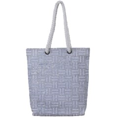 Woven1 White Marble & Silver Glitter Full Print Rope Handle Tote (small) by trendistuff
