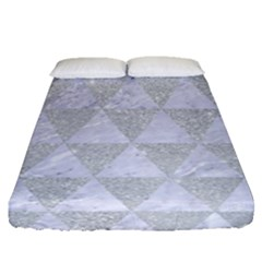 Triangle3 White Marble & Silver Glitter Fitted Sheet (queen Size) by trendistuff