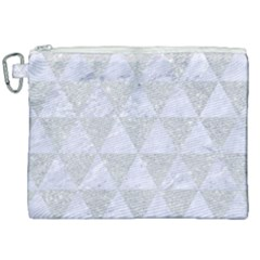 Triangle3 White Marble & Silver Glitter Canvas Cosmetic Bag (xxl) by trendistuff