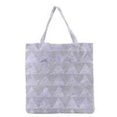 Triangle2 White Marble & Silver Glitter Grocery Tote Bag by trendistuff
