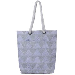 Triangle2 White Marble & Silver Glitter Full Print Rope Handle Tote (small) by trendistuff