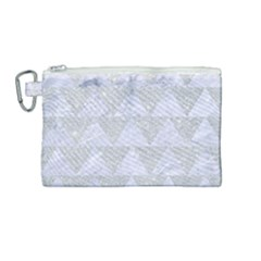 Triangle2 White Marble & Silver Glitter Canvas Cosmetic Bag (medium) by trendistuff