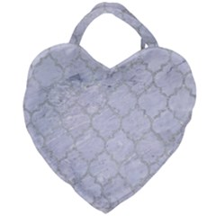 Tile1 White Marble & Silver Glitter (r) Giant Heart Shaped Tote