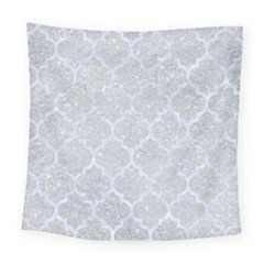 Tile1 White Marble & Silver Glitter Square Tapestry (large) by trendistuff
