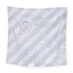 Stripes3 White Marble & Silver Glitter (r) Square Tapestry (large) by trendistuff