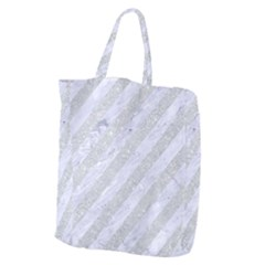 Stripes3 White Marble & Silver Glitter (r) Giant Grocery Zipper Tote by trendistuff