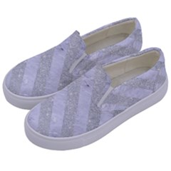 Stripes3 White Marble & Silver Glitter Kids  Canvas Slip Ons by trendistuff