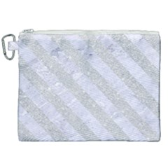 Stripes3 White Marble & Silver Glitter Canvas Cosmetic Bag (xxl) by trendistuff