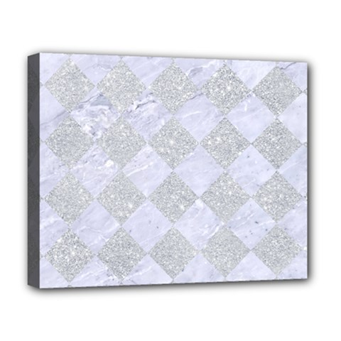 Square2 White Marble & Silver Glitter Deluxe Canvas 20  X 16   by trendistuff