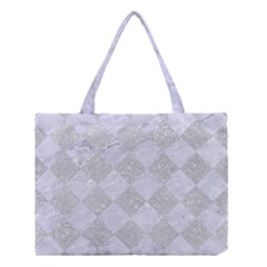 Square2 White Marble & Silver Glitter Medium Tote Bag by trendistuff