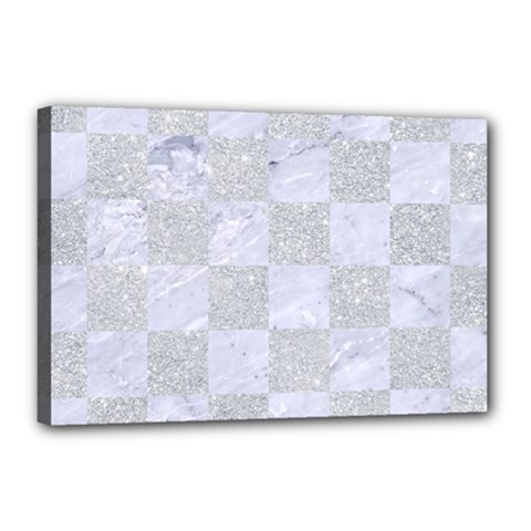 Square1 White Marble & Silver Glitter Canvas 18  X 12  by trendistuff
