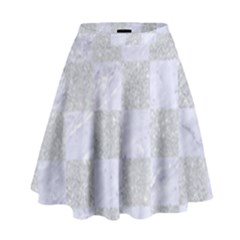 Square1 White Marble & Silver Glitter High Waist Skirt by trendistuff