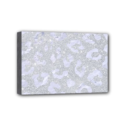 Skin5 White Marble & Silver Glitter (r) Mini Canvas 6  X 4  by trendistuff