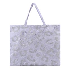 Skin5 White Marble & Silver Glitter Zipper Large Tote Bag by trendistuff